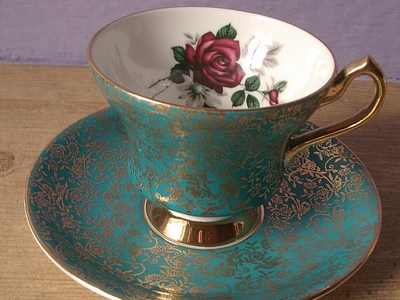 vintage teal tea cup and saucer set, 1950's Society English bone china tea set, red rose green gold flowers