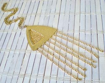 Vtg Geometric Fringe Pendant Necklace, 1970's, Mod, Golden, Long