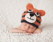 Newborn Auburn Tiger Hat photography prop - Boy or Girl, Made to Order