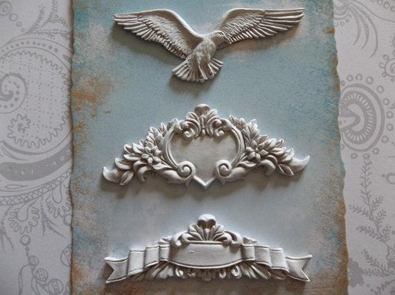 Set of Shabby Chic White Painted Resin Shapes Bird Heart & Ribbon Vintage Embellishments Cabochons