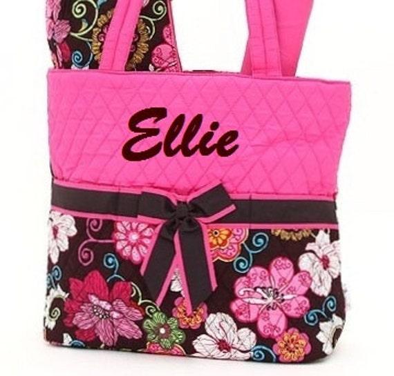 Personalized Diaper Bag Quilted Fuchsia Brown 3pc Set