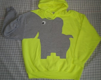 Elephant HOODIE, hooded elephant sweatshirt, elephant shirt, trunk sleeve, Highlighter yellow, Adult UNISEX size Large