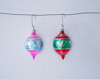 SALE! Set of 2 Vintage Handpainted Christmas Glass Teardrop Ornaments