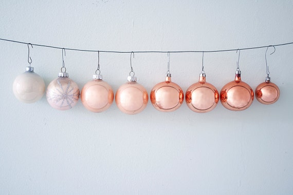 Set of 8 Assorted Vintage Christmas Glass Ornaments in Peach