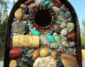 Mosaic Stone Birdhouse and  functional Garden Art