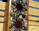 Mosaic Stone Birdhouse Bird Feeder