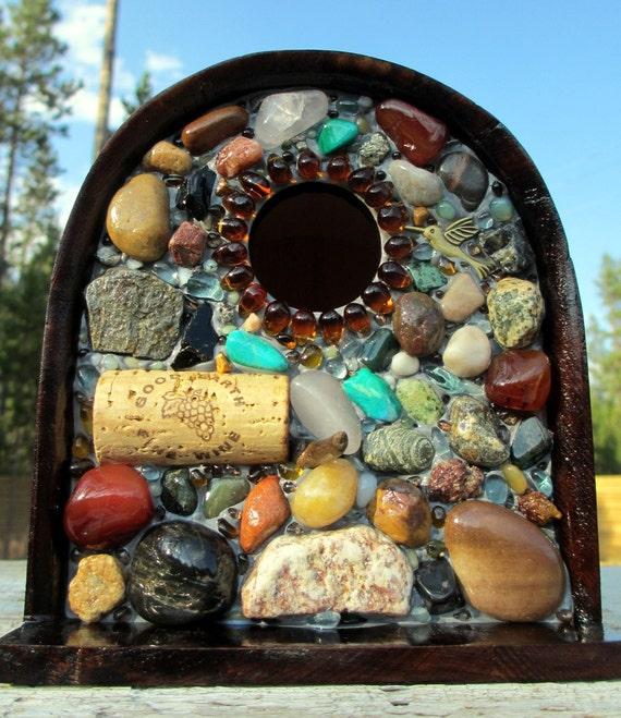 Mosaic Stone Birdhouse and  functional Garden Art