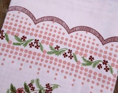 VINTAGE Antique Pink floral print cotton tablecloth. New old stock.