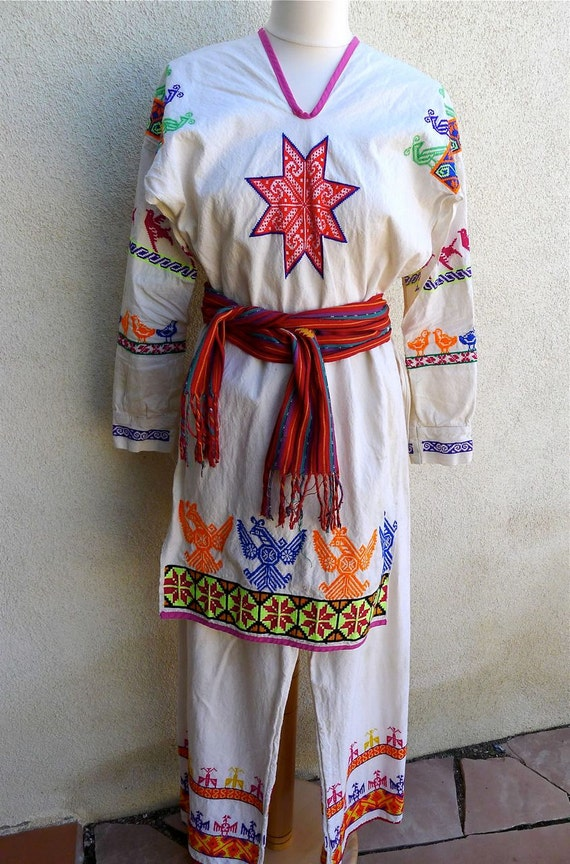 Mexican embroidered Huichol Costume - SMALL size 8-10 tunic and pants