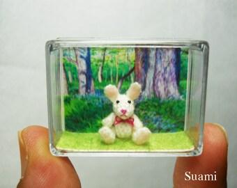 Miniature Bunny Rabbit - Teeny Tiny Crochet Dollhouse Decor - Made To Order