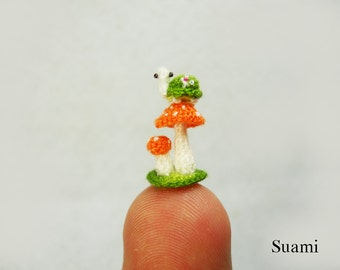 Micro Green Turtle Orange Mushroom - Tiny Crochet Plush Miniature Tortoise - Made To Order