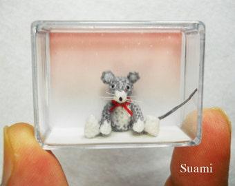 Tiny Crochet Mouse Stuffed Animals - Micro Miniature Amigurumi Rat Mice  - Made To Order