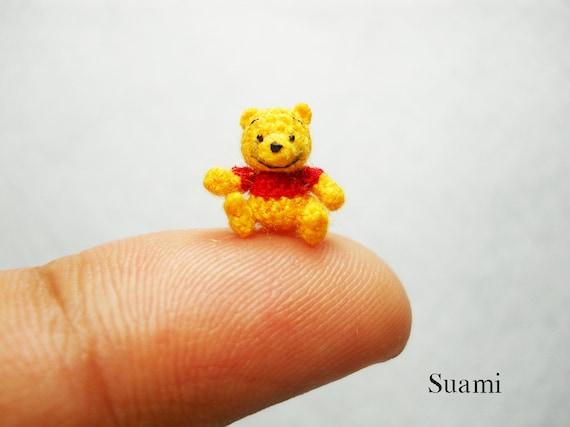 0.4 Inch Micro Pooh Bear Amigurumi - Miniature Thread Crochet Winnie The Pooh - Made To Order