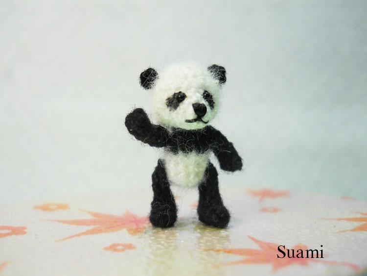 Miniature Panda Bear Micro Crochet Mohair Panda 0 8 Inch