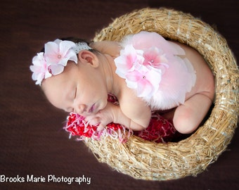 Newborn angel wings and headband set, pink wings