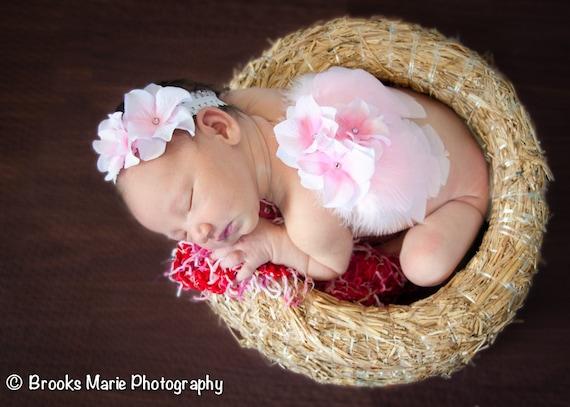 Newborn angel wings and headband set, pink wings