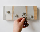 KEY HOOK GEOMETRIC Modern Linear Design a Handmade Wooden Wall Mount Piece for Cottage or Home.