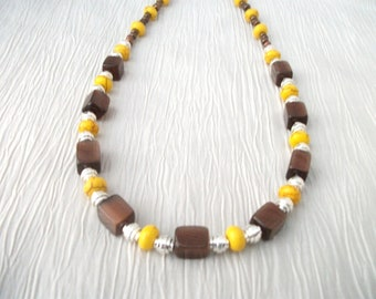 Turquoise and cat's eye brown and yellow necklace set