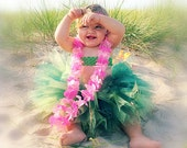 Hula Skirt Tutu | Tropical Flower Headband | Infant, Baby, Toddler | Birthday Outfit, Halloween Costume, or Photo Prop
