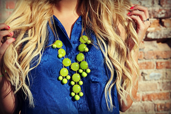REDUCED to 15, Lime Green Bubble Necklace, Statement Necklace, Bib Necklace, J Crew Inspired