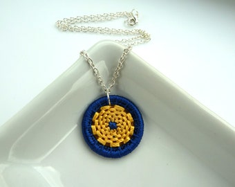 blue silk necklace -- Dorset button pendant necklace in midnight blue and yellow gold silk on sterling silver chain
