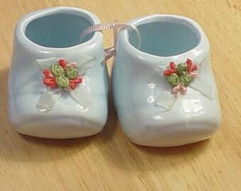 Vintage Baby Blue Ceramic Baby Shoes, Baby, Children, Victorian, Shabby Chic, Bohemian, Romantic, Accessories, Antique, Unique, Elegant