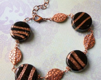 Ceramic Bead Bracelet, Black and Copper Ceramic Beads, Copper Beads, FREE SHIPPING