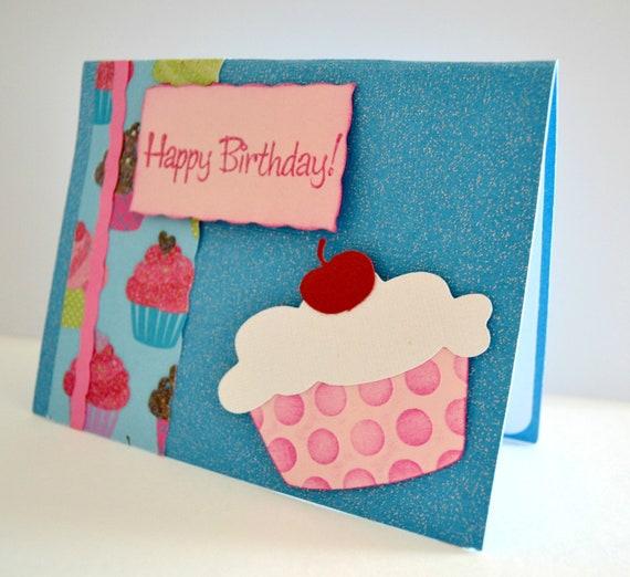 Cupcake Birthday Card- Girl Blue & Pink