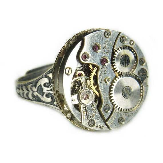 Women's STEAMPUNK Ring Jewelry - Watch Movement TORCH SOLDERED - Benrus Circular w/ Floral Etched Band - Mirror Shine