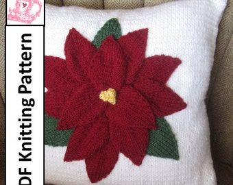 "PDF KNITTING PATTERN, Christmas pillow knitting pattern, 16""x16"",  Poinsettia pillow cover pattern"