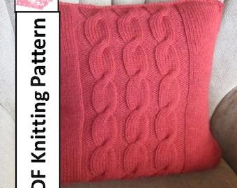 "PDF KNITTING PATTERN, knit pattern pdf, cable knit pattern, cable knit pillow cover pattern, 20""x20"", Cable pillow cover"