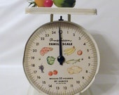 Vintage American Family Scale, Retro Kitchen, White Industrial Scale