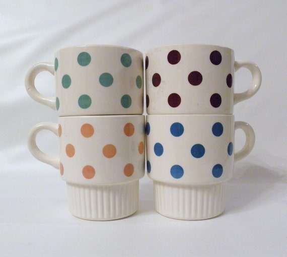 Vintage Polka Dot Mugs, Ironstone Mugs in Box, Green Yellow Brown Blue