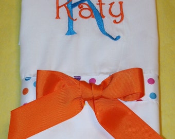 Custom Personalized Monogrammed Pillowcase for sweet little girls, tweens and teens