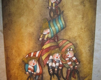 Vintage Original Signed Oil/Acrylic Whimsical Cycling Painting