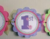 Green Purple Pink Elephant Birthday Banner, Happy Birthday Elephant Banner, Birthday Banner, 1st Birthday, Elephant Party