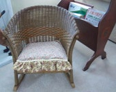 Antique Lloyd Loom Childs Wicker Rocking Chair