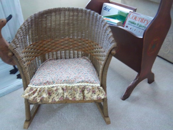 Antique Lloyd Loom Childs Wicker Rocking Chair By