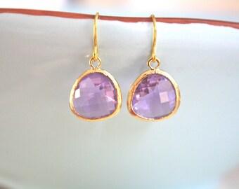 Gold Earrings, Purple Gold Bridesmaid Earrings, Bridesmaid gifts, Bridesmaid Jewelry, Purple Wedding, Bridesmaid Earrings Birthday Gifts