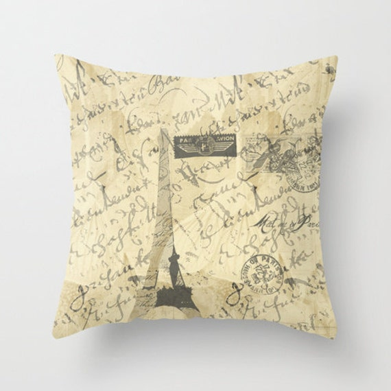 Decorative Pillow Cover Parisian French Script with French