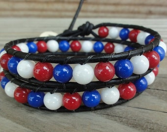 SALE - Ready to Ship - USA Patriotic Double Leather Wrap Bracelet - Red, White, & Blue - Fourth of July