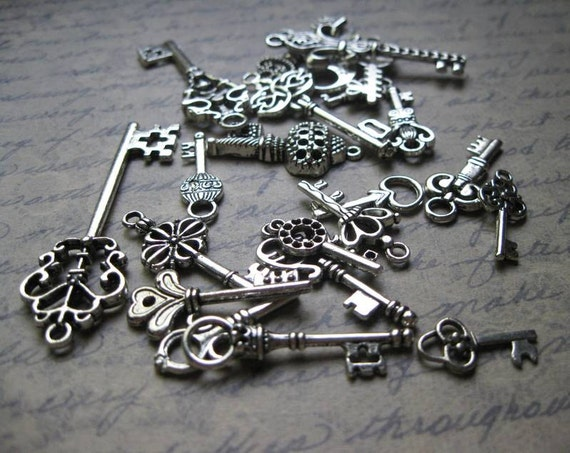 Collection of Large Key Pendants / Charms in Silver Tone - C1327