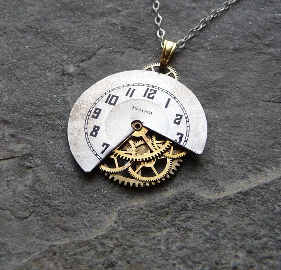"""Watch Face Pendant """"Inward"""" Abstract Deconstructed Watch Dial Necklace Recycled Upcycled Gear Art Steampunk by A Mechanical Mind"""