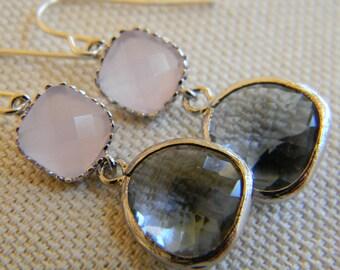 Silver Charcoal Gray Earrings Pink Earrings - Bridesmaid Earrings - Bridal Earrings - Wedding