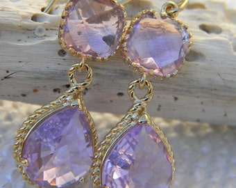 Purple Earrings , Bridesmaid Earrings, Dangle Earrings, Lavender Earrings, Bridesmaid Jewelry, Wedding Jewelry, Gift For Her