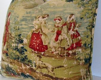 Decorative Pillow Cover - 18inch - Bosporus/Brick - Deep Red - Tan - Green - Blue - Linen