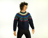 Woolrich fair isle sweater Christmas winter ski red green blue holiday medium large - CarnivalOfTheManiac
