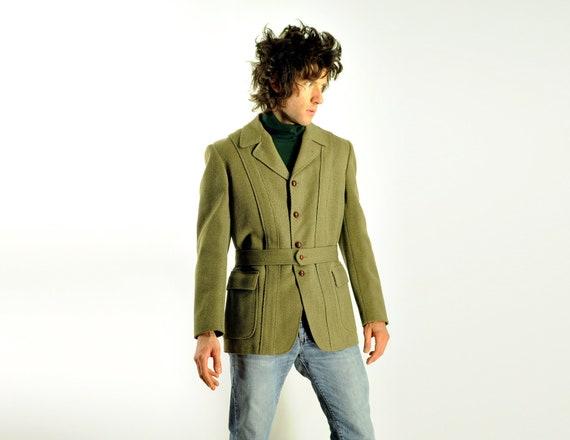 RESERVED 50s mens Norfolk jacket 1950 Rogers Peet belted sport coat olive green diagonal corduroy blazer leather button 38R 40R