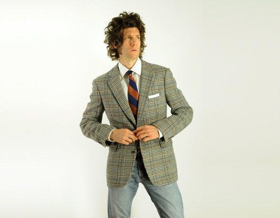 70s mens plaid tweed sportcoat 1970 houndstooth blazer gray white blue rust 100% wool 40R 42R