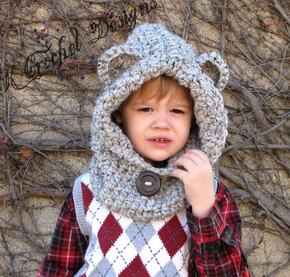 Free Crochet Pattern Toddler Hooded Cowl : Items similar to Crochet hooded bear cowl-teddy bear cowl ...